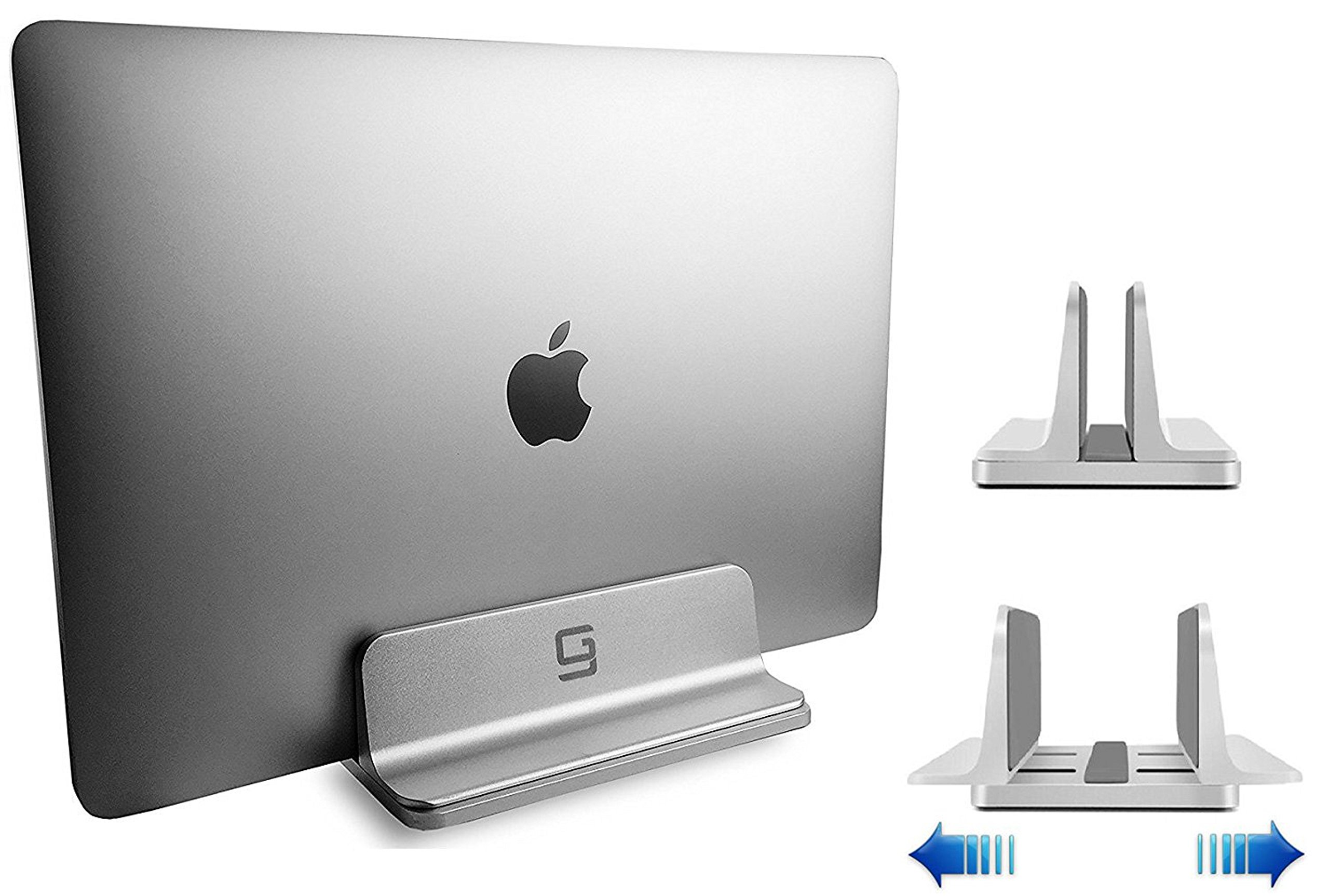 Adjustable Laptop Stand Dock | Fits All Apple MacBook Pro Air HP Dell Acer Lenovo Microsoft Samsung Sony ASUS Laptops | Vertical Modern Aluminum Custom Fit Desktop Space-Saving & Portable (Silver)