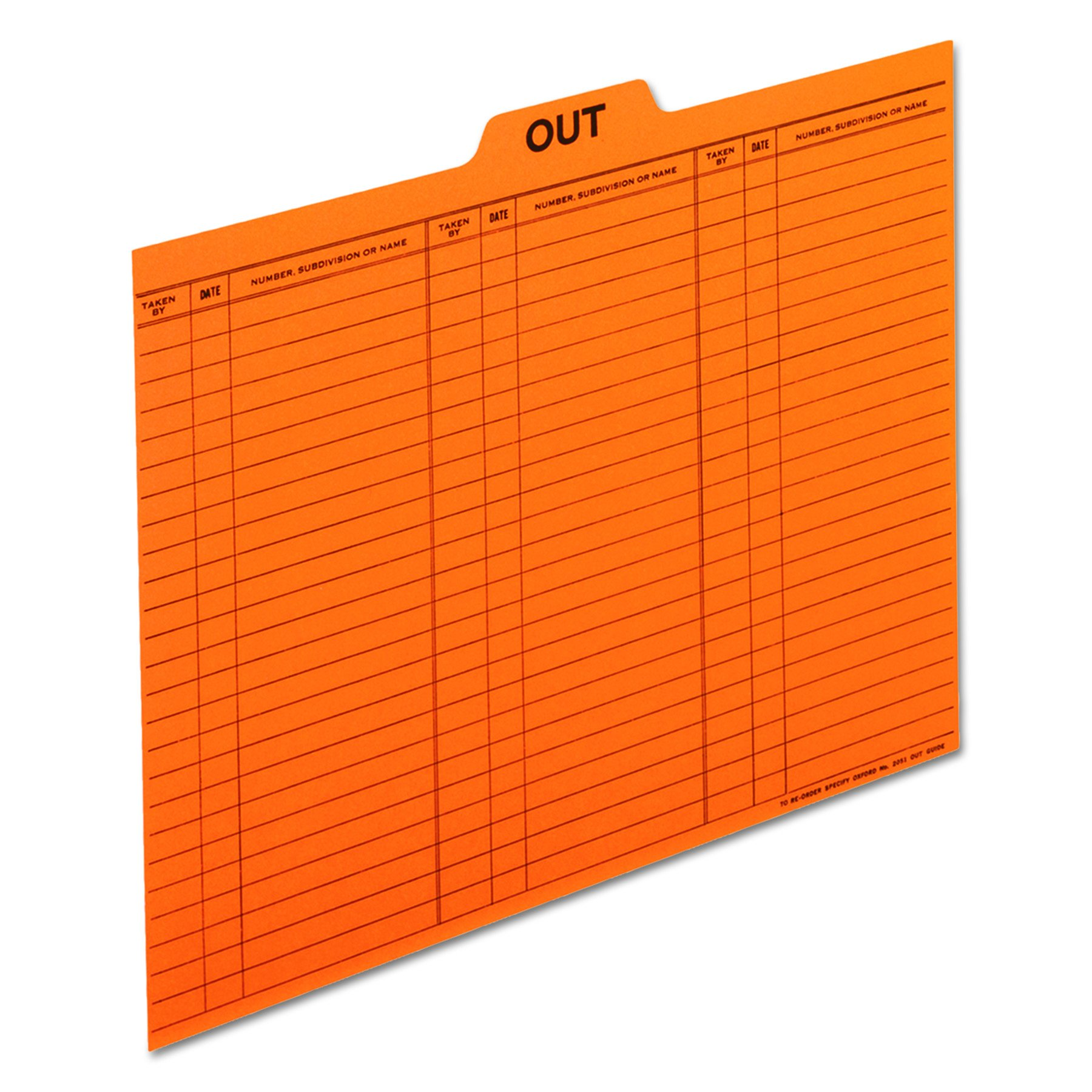 Pendaflex 2051 Salmon Colored Charge-Out Guides, top Out tab, Letter Size, 100/box by Pendaflex