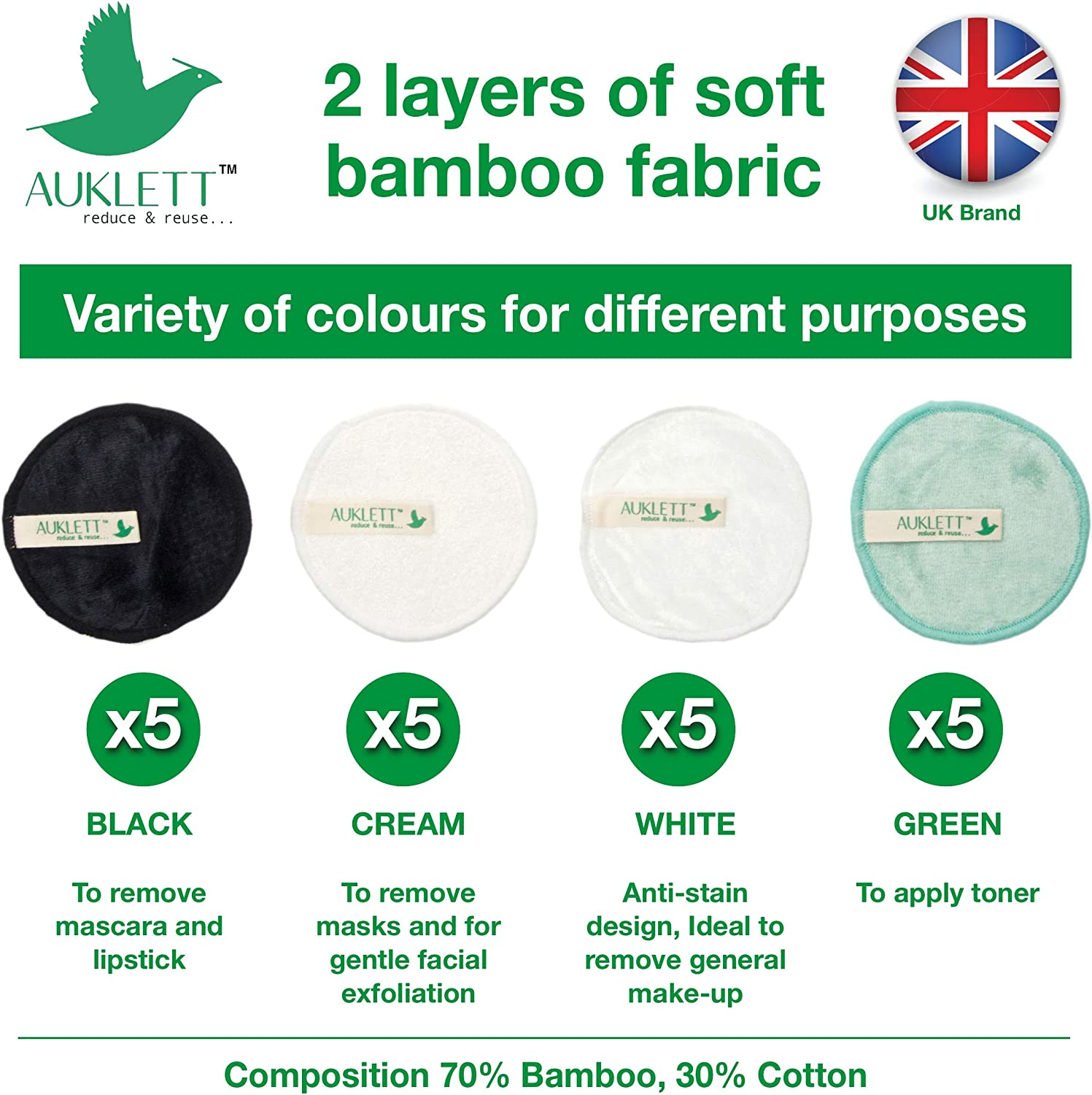 20 Packs Natural Bamboo Cotton Pads with BONUS Konjac Sponge Bamboo Storage Pot and Cotton Laundry Bag Reusable Makeup Remover Pads Washable and Ecofriendly for all skin types