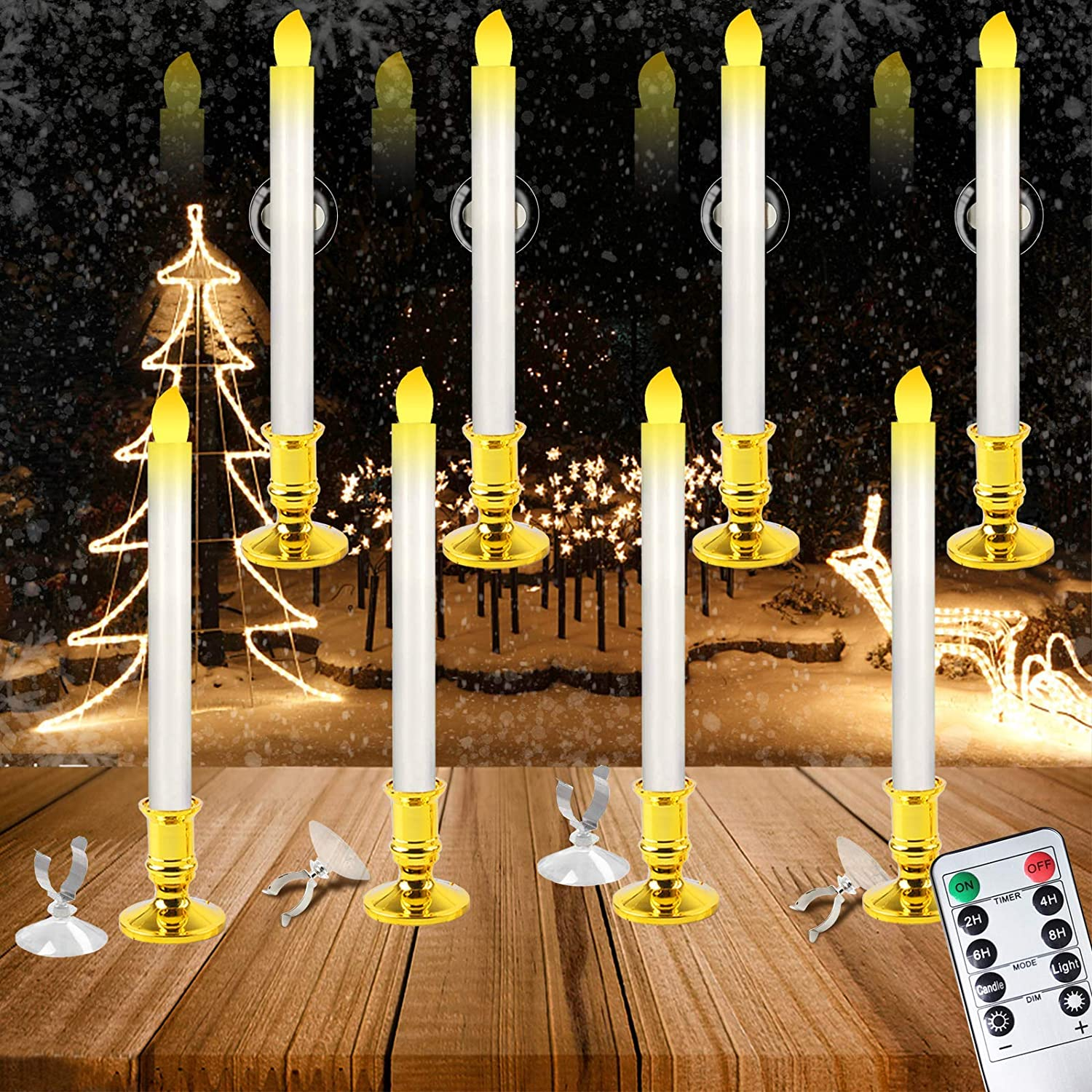 Christmas Window Candles Battery Operated, 8Pcs 10