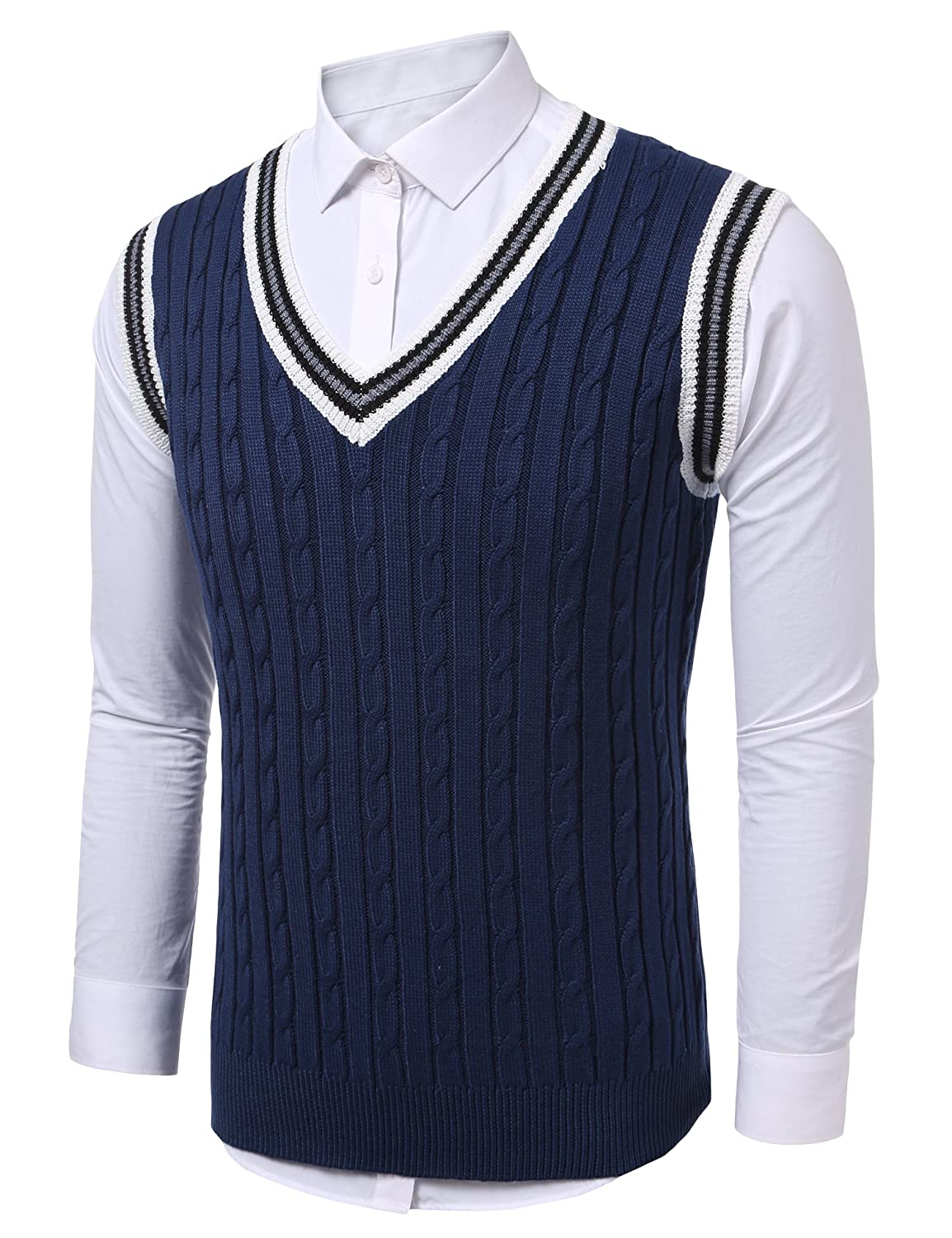 1920s Tennis Clothes | Womens and Men's Outfits Coofandy Mens Casual Knitted Sweater Slim Fit Pullover Cable Sweater Links-Vest $27.99 AT vintagedancer.com