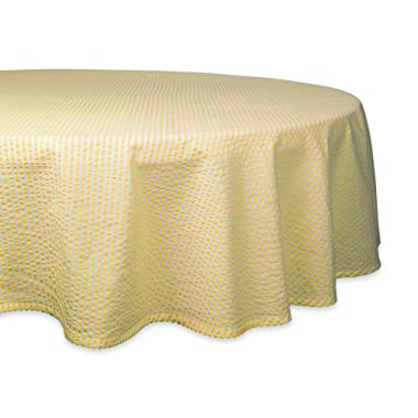 DII Cotton Seersucker Striped Tablecloth for Weddings, Picnics, Summer Parties and Everyday Use, 70  Round, Yellow