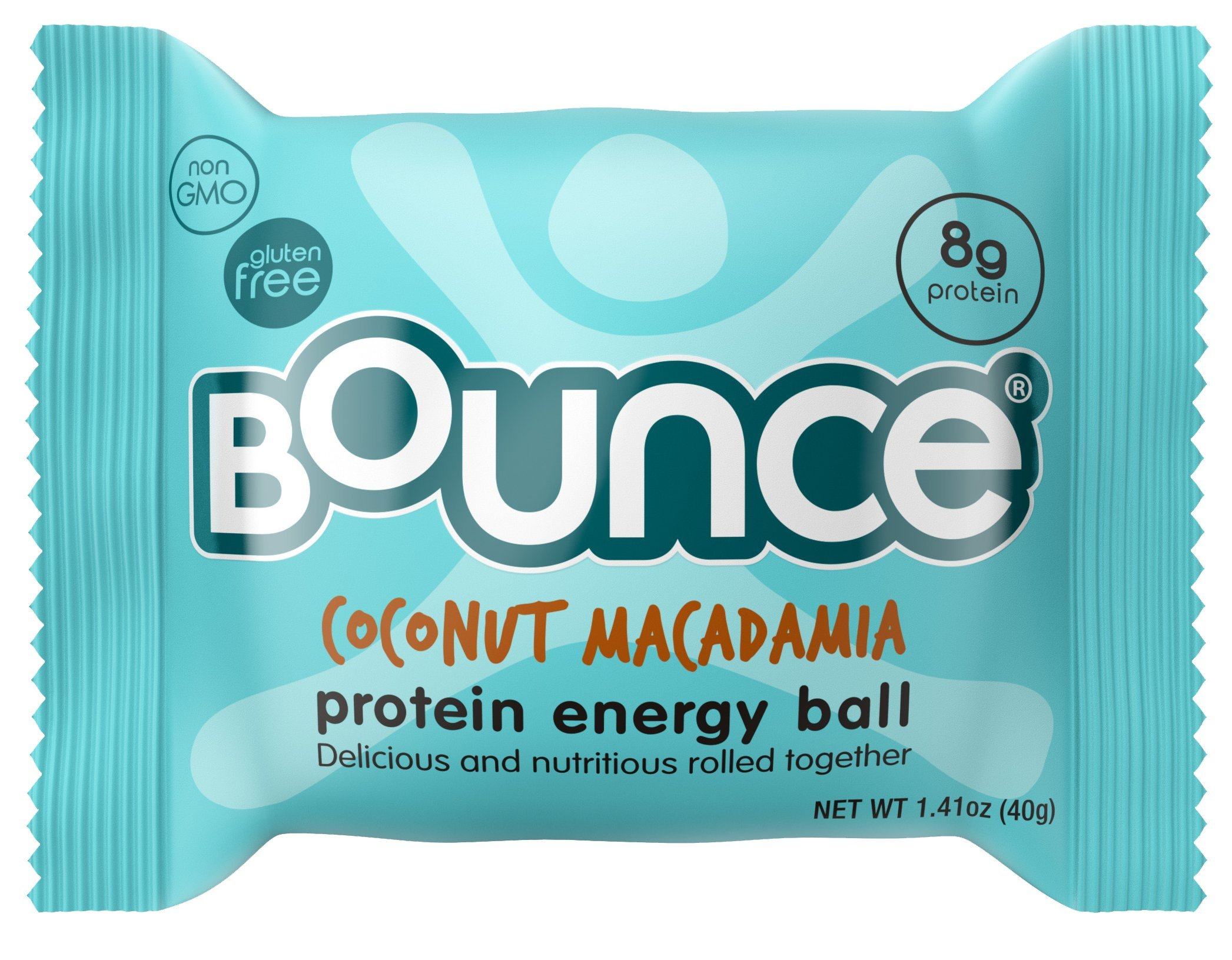 Bounce Natural Protein Energy Ball, Gluten-Free Vegetarian Snack with 8g of Whey Protein - Coconut Macadamia, 1.41 Ounce (Pack of 12)