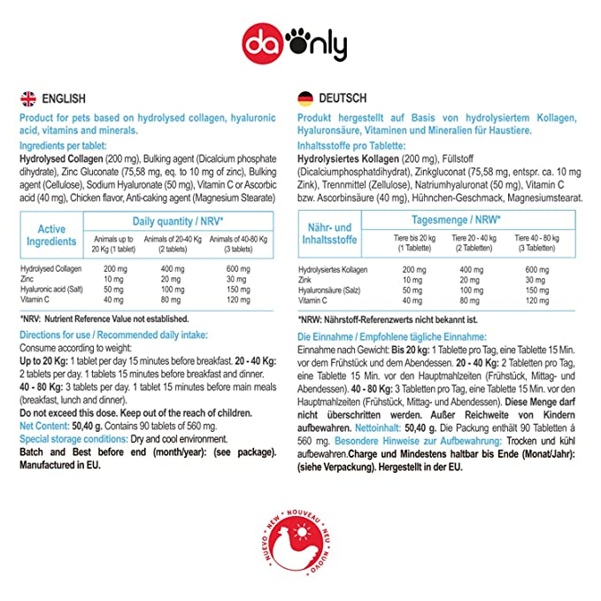 DAONLY Suplemento Natural para la Piel de tu Mascota, colageno para la Piel, Acido hialuronico y vitaminas para tu Perro y Gato, colageno Piel para ...