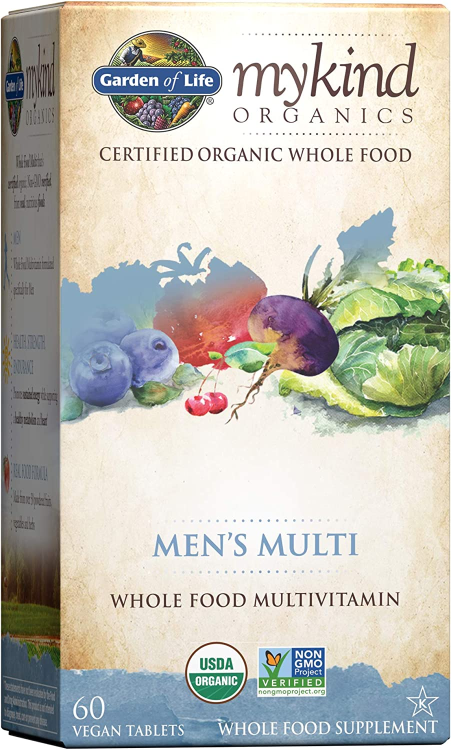 Garden of Life mykind Organics Whole Food Multivitamin for Men, 60 Tablets, Vegan Mens Vitamins and Minerals for Mens Health and Well-Being, Certified Organic Vegan Mens Multi