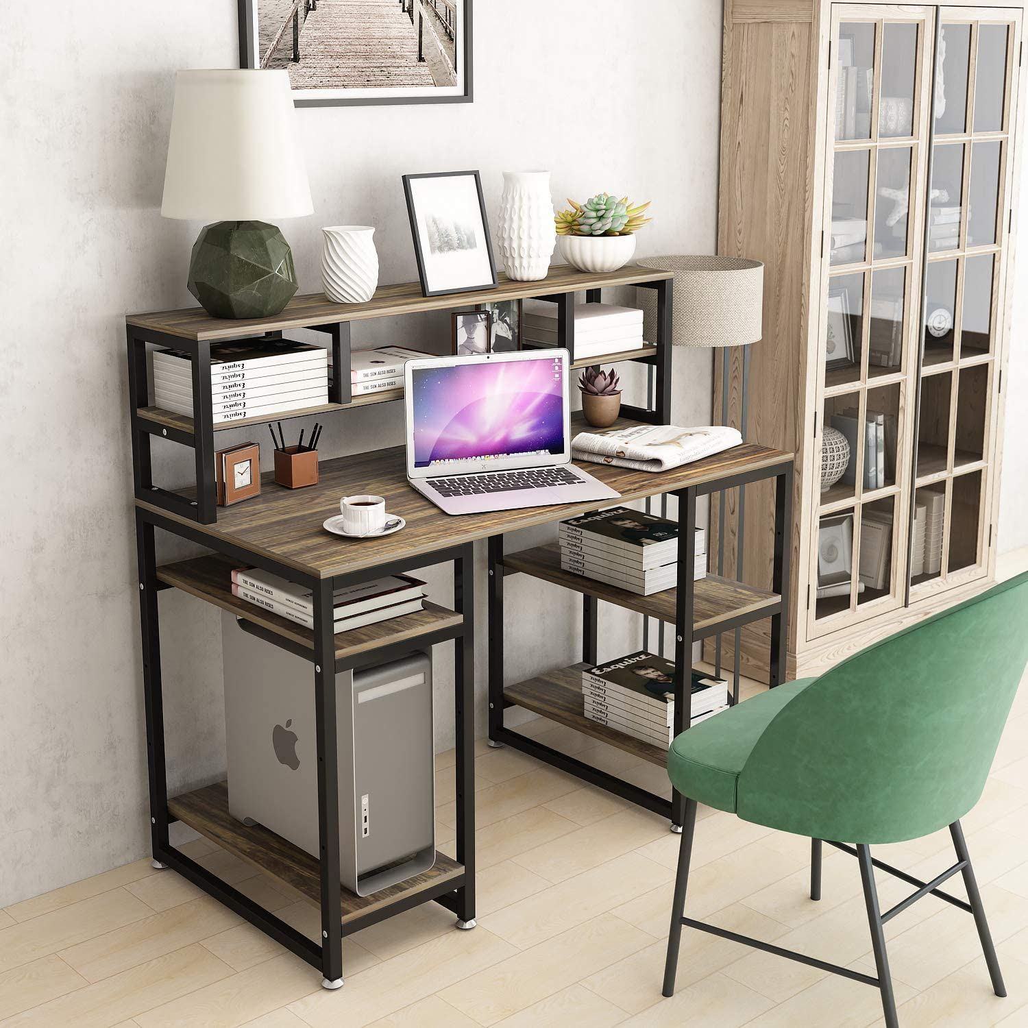 "Computer Desk with Hutch DEWEL 50"" Office Desk Gaming Table Writing Study  Table Workstation with 50 Storage Bookshelf for Home Office"