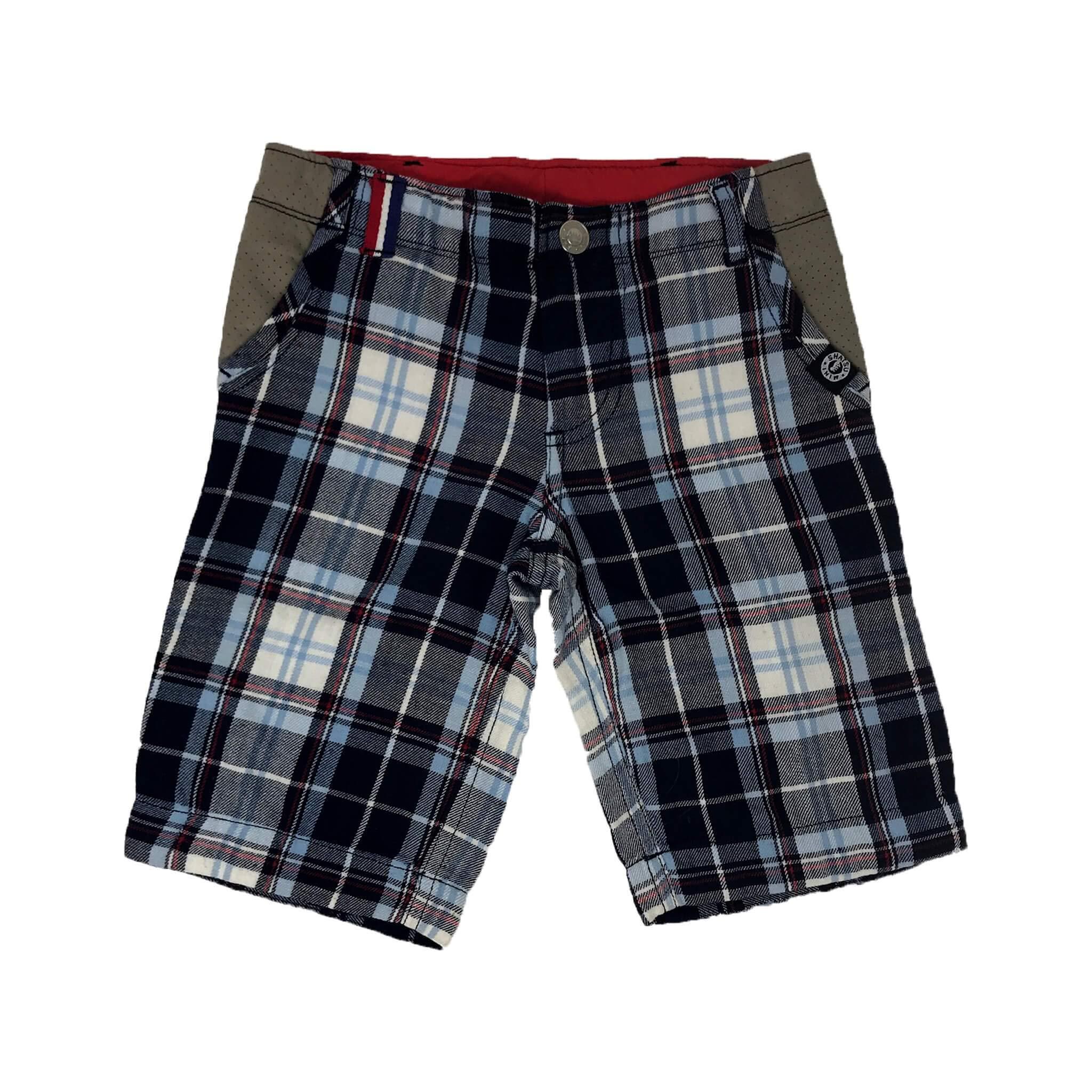 Navy Madras Shorts