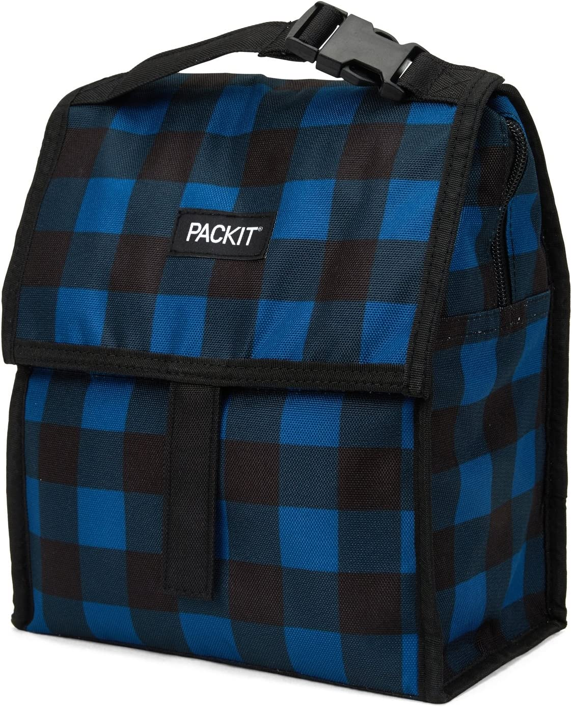 PackIt Freezable Lunch Bag with Zip Closure, Navy Buffalo