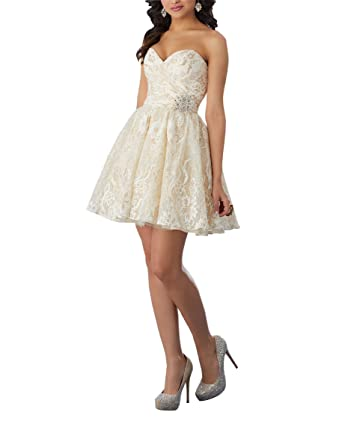 Fannydress Lace Pleats Sweetheart Short Prom Dresses Open Back Crystal Sash Homecoming Dress Cheap Party Gowns