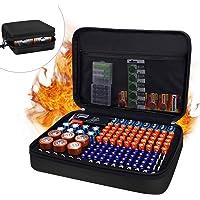JUNDUN Battery Organizer,Fireproof Waterproof Hard Battery Storage Case,Silicone Battery Storage Box Holder,Hold 148…