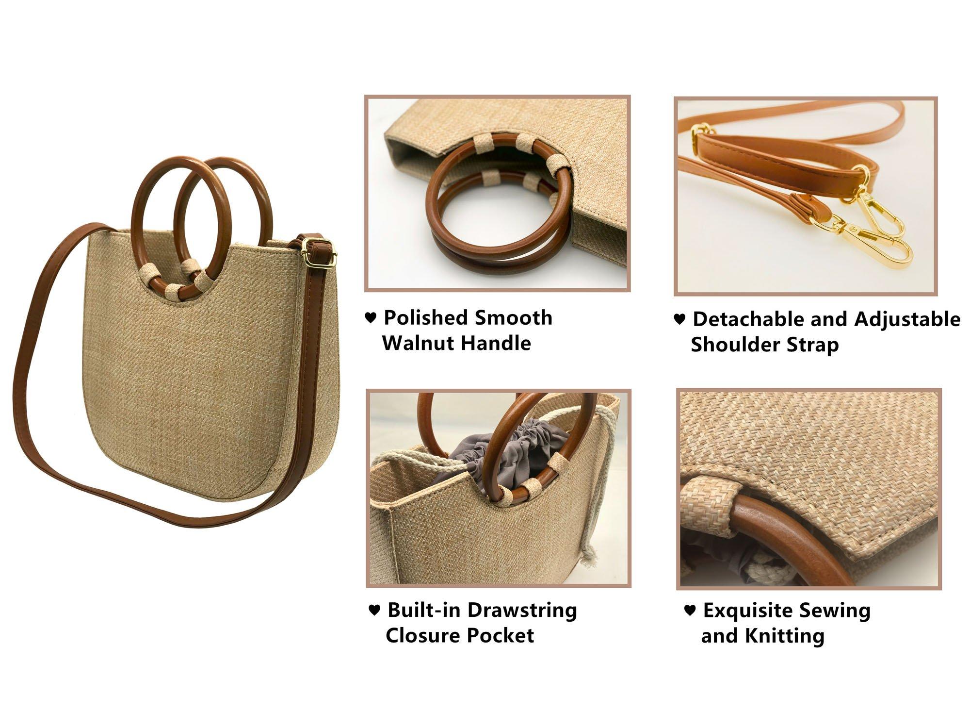Youndcc Women Woven Straw Bag Rattan Bag Tote Bag Shoulder Bag Crossbody Bag Handbag Beach Bag, Handwoven/Crochet/Round Handle by Youndcc (Image #4)