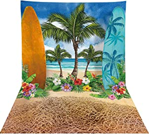Allenjoy Summer Beach Ocean Backdrop for Photography Blue Sky Seaside Surfboard Background Tropical Palm Trees Kids Girls 1st Birthday Party Decor Banner Baby Shower 8x10ft Photoshoot Photo Booth Prop