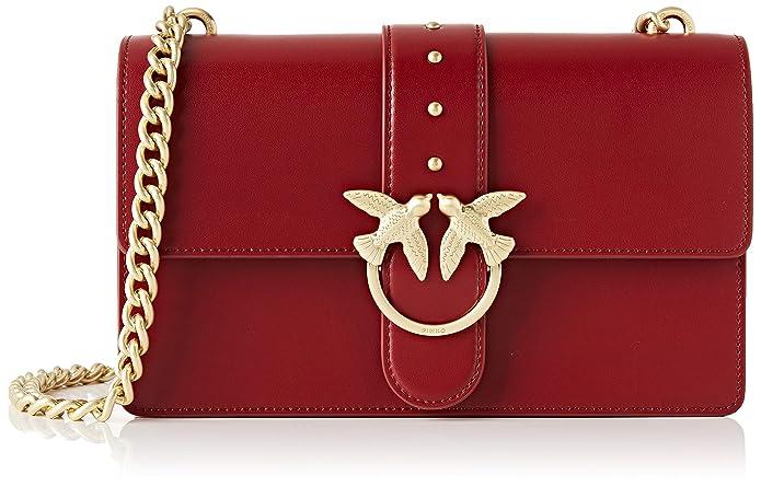 Pinko Love Simply 11 Catena, Bolso Bandolera para Mujer, Rojo (Dark Red), 7.5x16.5x27 centimeters (W x H x L)