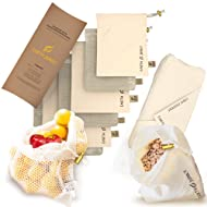 Reusable Produce Bags in Mesh & Muslin - Washable Fruit and Vegetable Storage Ecobags - 6 Food Grocery Bags, 1 Bonus Greens Swaddle Sheet - Eco Friendly Drawstring Bag Set - S, M, L