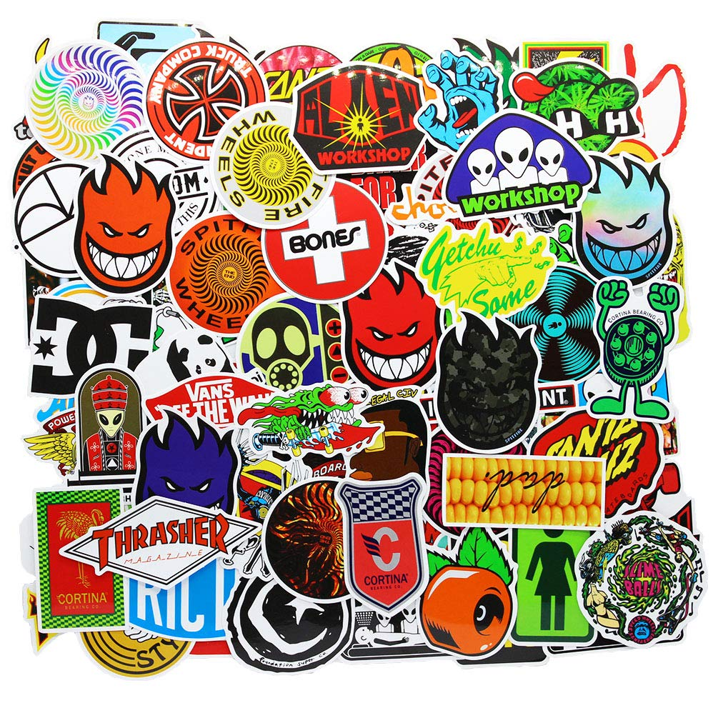 Brand Laptop Stickers 100 Pcs Pack Cool Vinyl Waterproof Sticker Skateboard Pad MacBook Car Snowboard Bicycle Luggage Decal