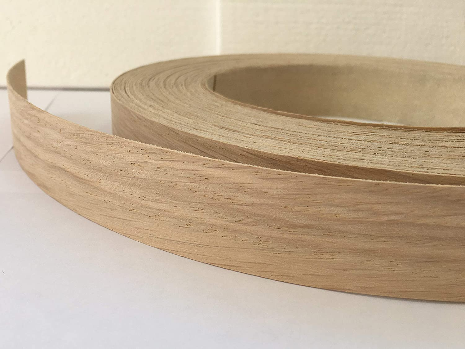 Pre Glued Iron on Oak Wood Veneer Edging Tape 22mm wide x 5 Metres.Free Postage High quality realwood edging