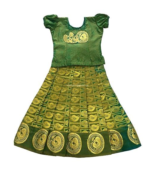 f07cd20040c85d Pattu Pavadai Kids Silk Pavadai Green (Pattu Pavada and Blouse) for Baby  Girls 3