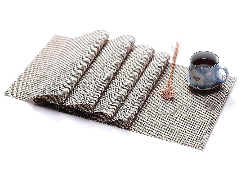HYSENM Chemin de Table 190*30cm PVC Plastic R/étro /Él/égant Lavable R/éutilisable /à L/épreuve de la Chaleur D/écoration Salle /à Manger Mariage beige