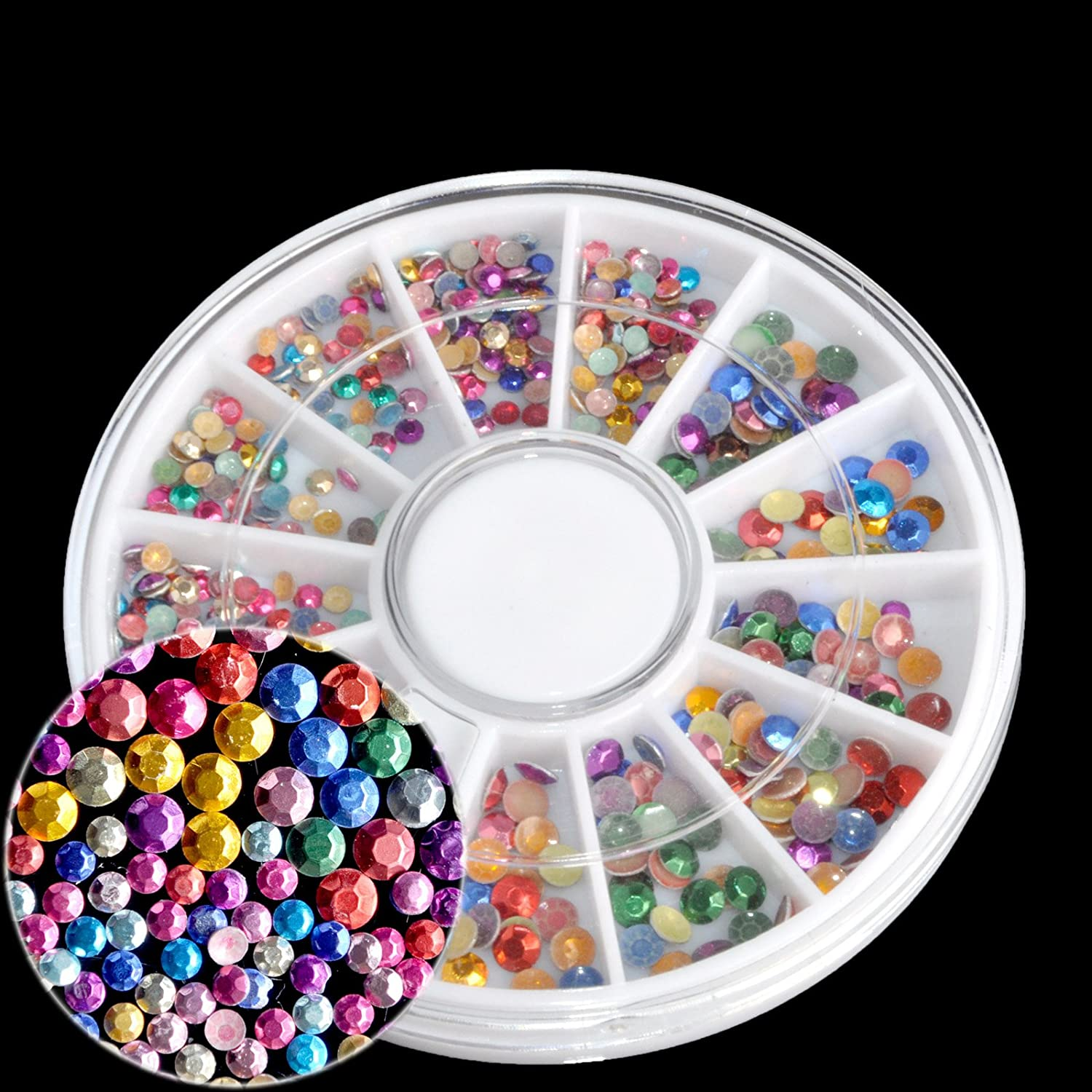Mix Size AB Pearls Nail Art Decoration Holo Gems Flat Back Round White Nail Design Beads Wheel N44 EchiQ