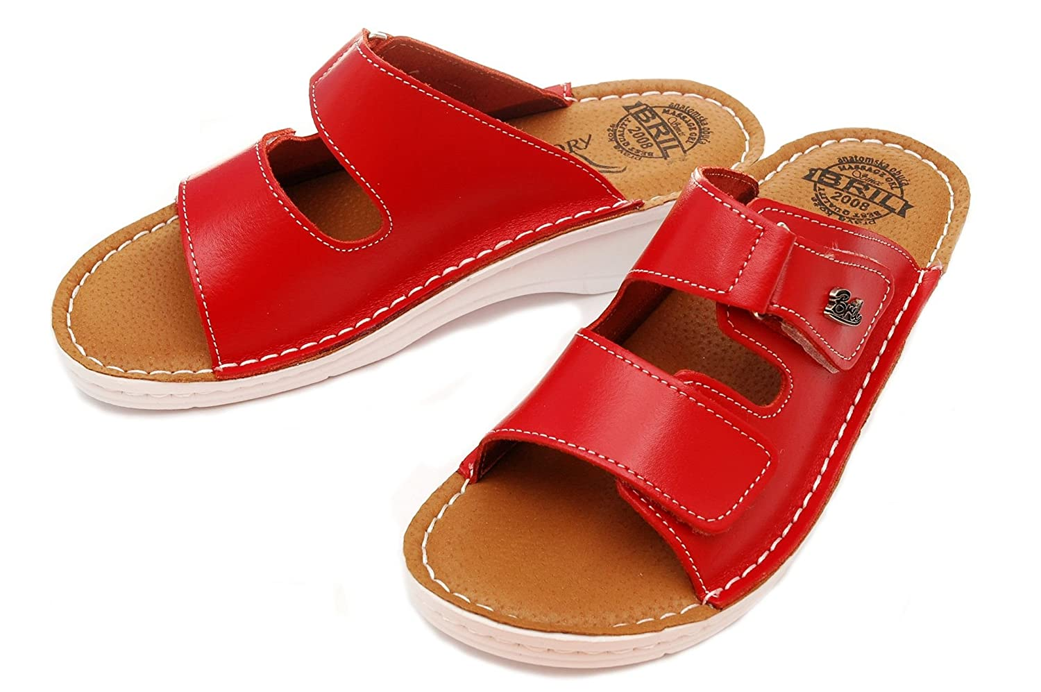 3620c0d0068be BRIL Dr Punto Rosso D54 Leather Slip-on Womens Ladies Sandals Mule Clogs  Slippers Shoes  Amazon.co.uk  Shoes   Bags