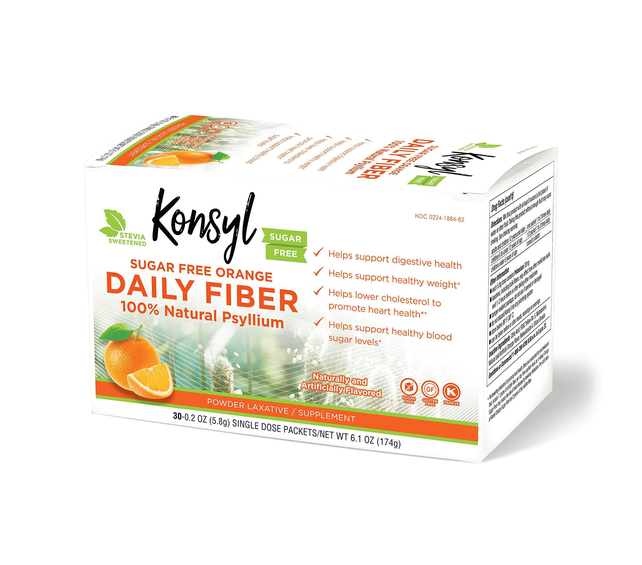 Konsyl Daily Fiber Orange 100% Natural Psyllium Husk Powder - Sugar Free & Gluten Free - 30 Individual Packets by Konsyl