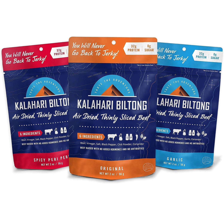 Kalahari Biltong | Air-Dried Thinly Sliced Beef | Variety Pack | 2oz (Pack  of 3) | Zero Sugar | Keto & Paleo