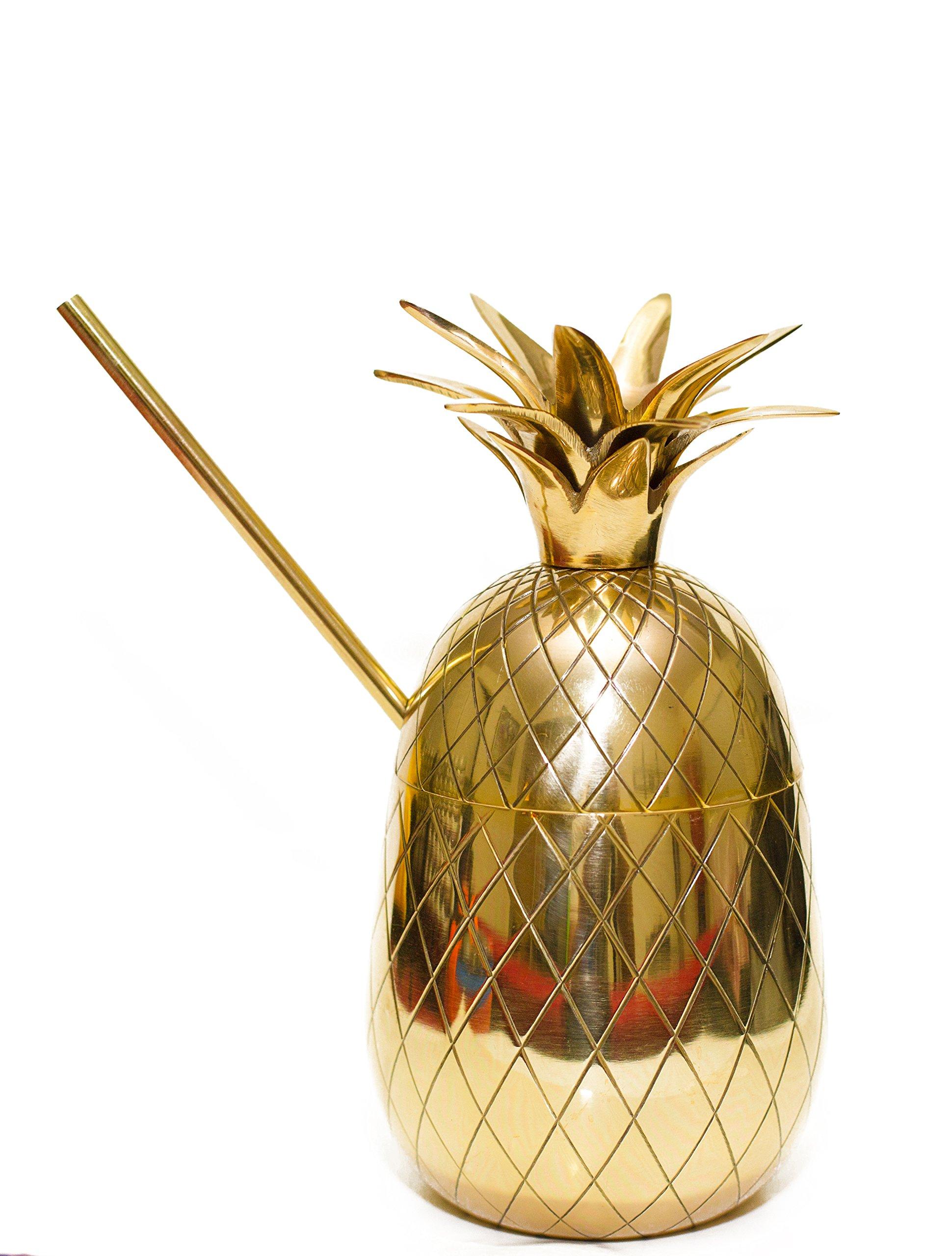 20oz Brass Pineapple Mug, Pineapple Cocktail Mug with Straw by Om Creation