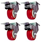 Online Best Service 4 Pack Caster Wheels Swivel Plate Stem Brake Casters On Red Polyurethane Wheels 880 Lbs (3 inch with brake)