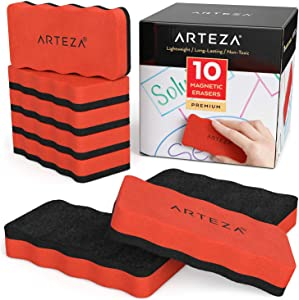 Arteza Magnetic Dry-Erase Board Foam Erasers, Set of 10, Ergonomic Shape with Thick Felt Pad for Whiteboards, Lapboards, and Glass Boards