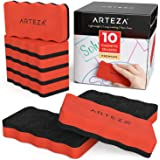 Arteza Magnetic Dry-Erase Board Foam Erasers, Set of 10, Ergonomic Shape with Thick Felt Pad for Whiteboards, Lapboards…