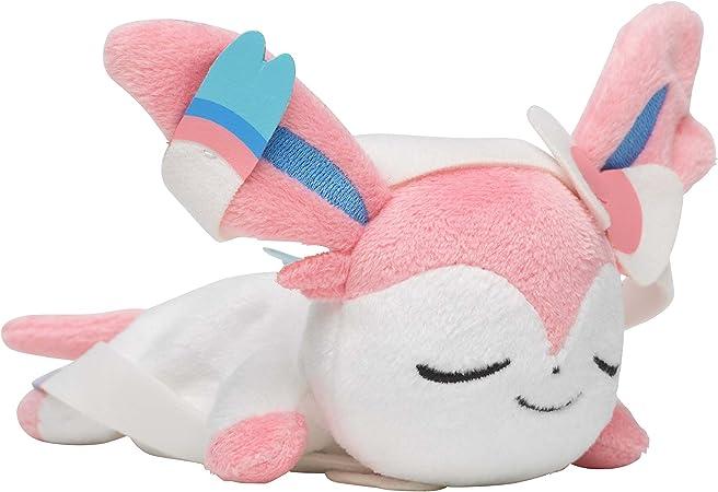"Japan Pokemon Center Sylveon Laying Beanbag 6/"" Plush Sleeping Closed Kuttari"