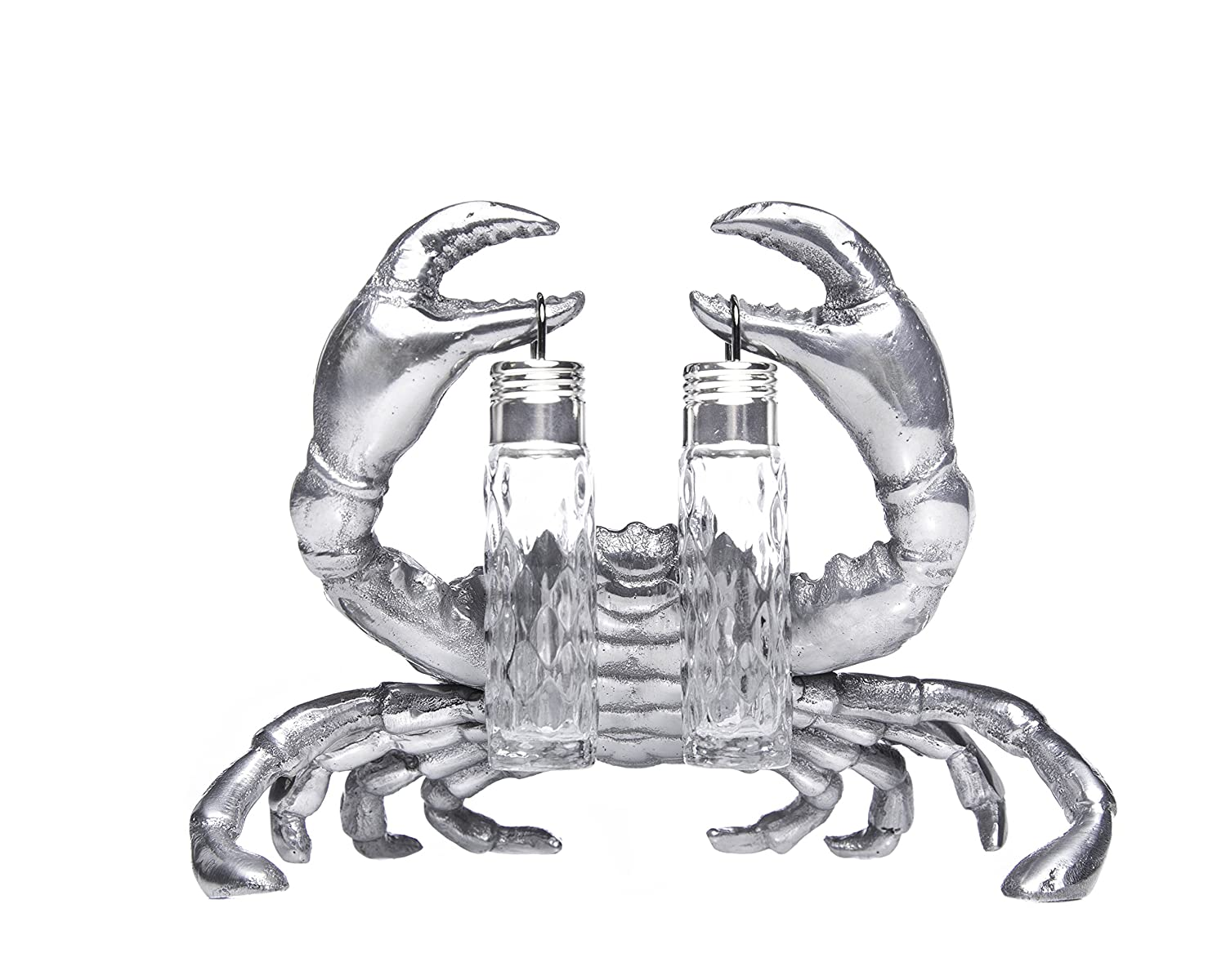 Christmas Tablescape Décor - Silver aluminum alloy crab stand for hanging glass salt and pepper shakers by Arthur Court Designs