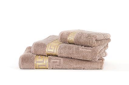 Luxus Medusa toalla marrón 100 x 200 cm XL Sahara gran anillo algodón/jacquard tejido