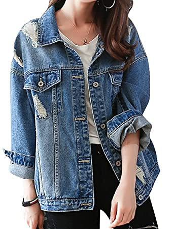 buy popular 001da 4e46b OUMIZHI® Damen Herbst Beiläufig Stilvoll Button Down Denim Gewaschene Mit  Patches Jean Jacket Mantel Lose Jeansjacke Outwear