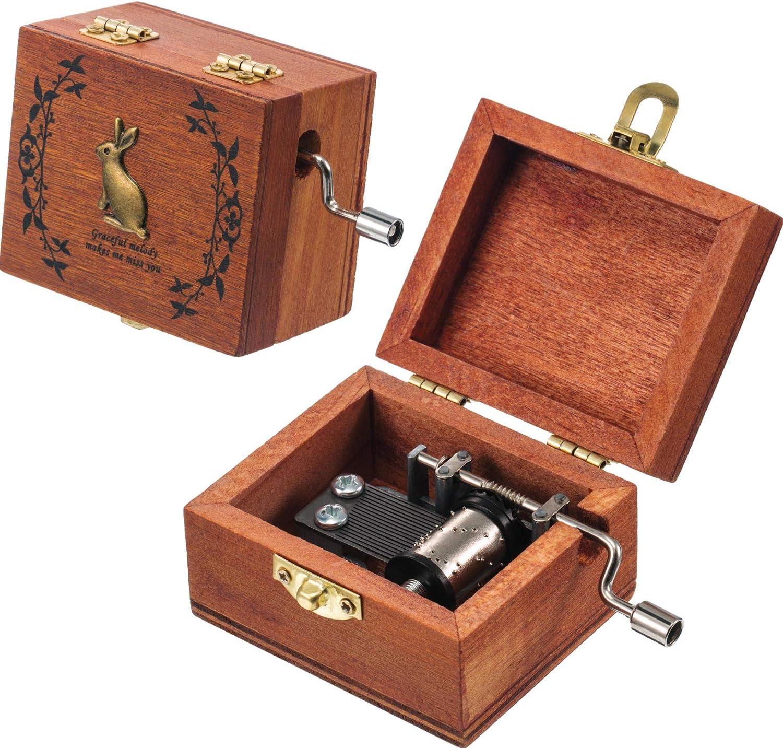 Tatuo 2 Piezas de Caja Musical de Madera Retro Caja de Música de Manivela Antigua, 2 Músicas Diferentes: Amazon.es: Hogar