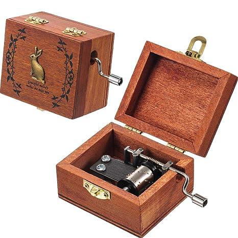 Tatuo 2 Piezas de Caja Musical de Madera Retro Caja de Música de Manivela Antigua,