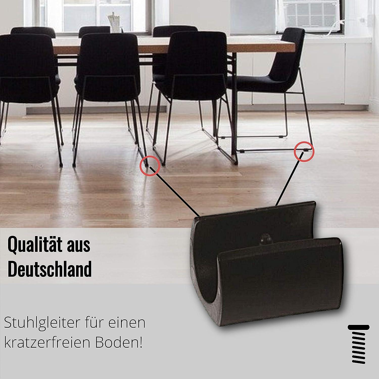 4 patins de serrage coque//patins chaise plastique pour tubes ronds noirs avec 1 goupille
