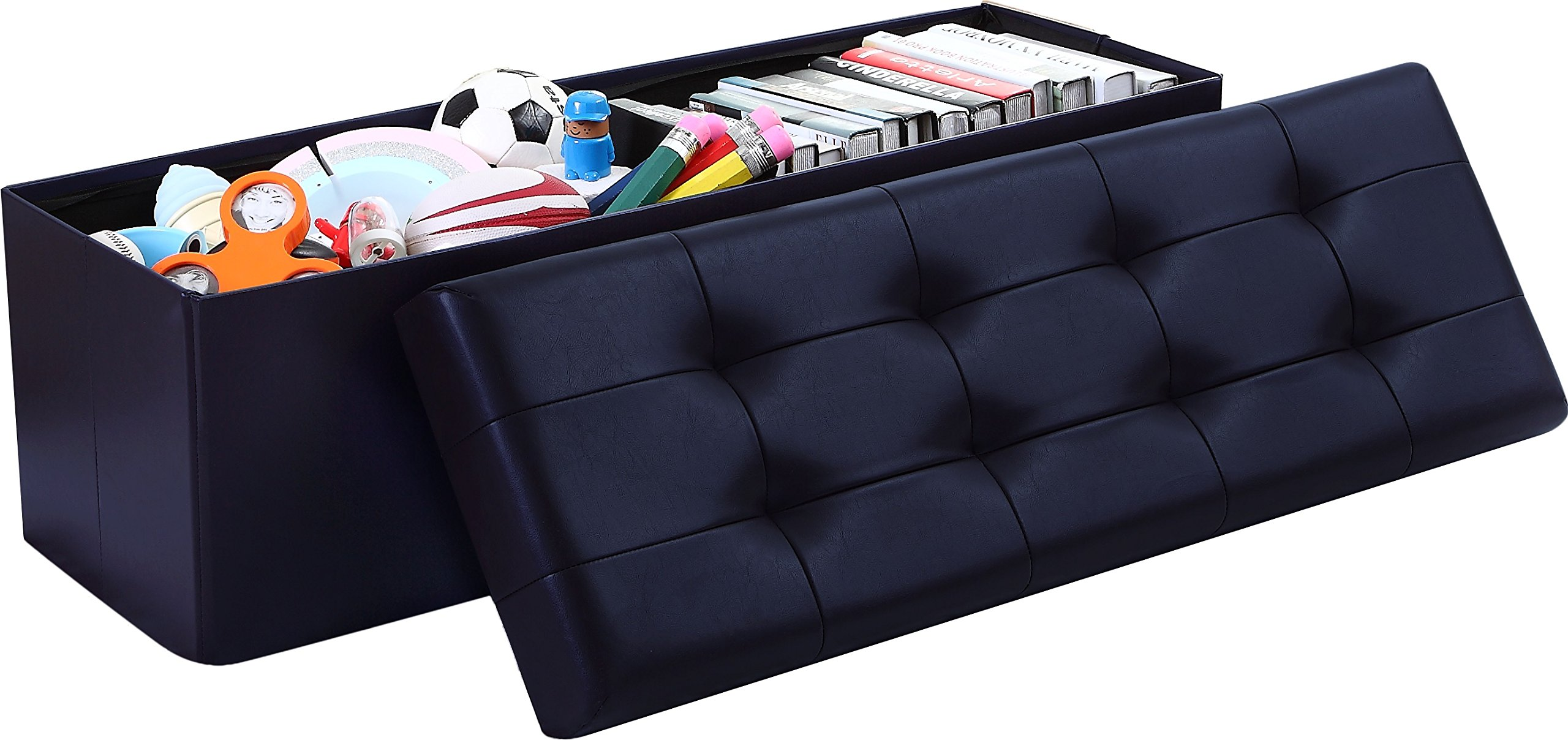 Ellington Home Foldable Tufted Faux Leather Large Storage Ottoman Bench Foot Rest Stool/Seat - 15'' x 45'' x 15'' (Navy)