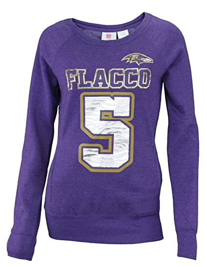 3b7259777 Image Unavailable. Image not available for. Color  Outerstuff NFL Baltimore  Ravens Joe Flacco  5 Junior Womens Scoop Neck Sweatshirt