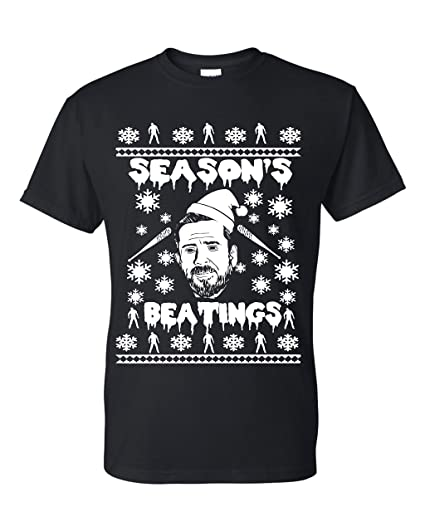 Walking Dead Christmas Sweater.Amazon Com Season S Beatings The Walking Dead Negan Ugly
