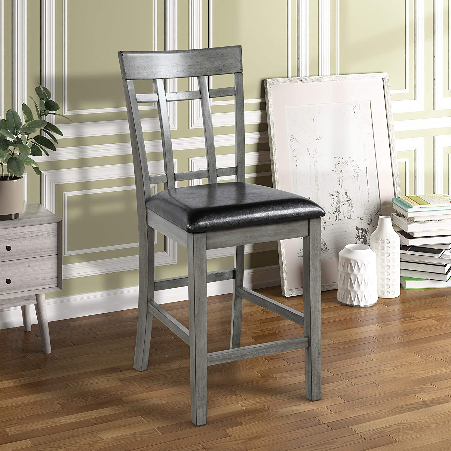 Harper Bright Designs 5 Piece Vintage Rectangular Counter Height Bar Table with 4 Chairs, Wood Dining Table and Chair Set for Dining Room, Pub and Bistro Antique Graywash