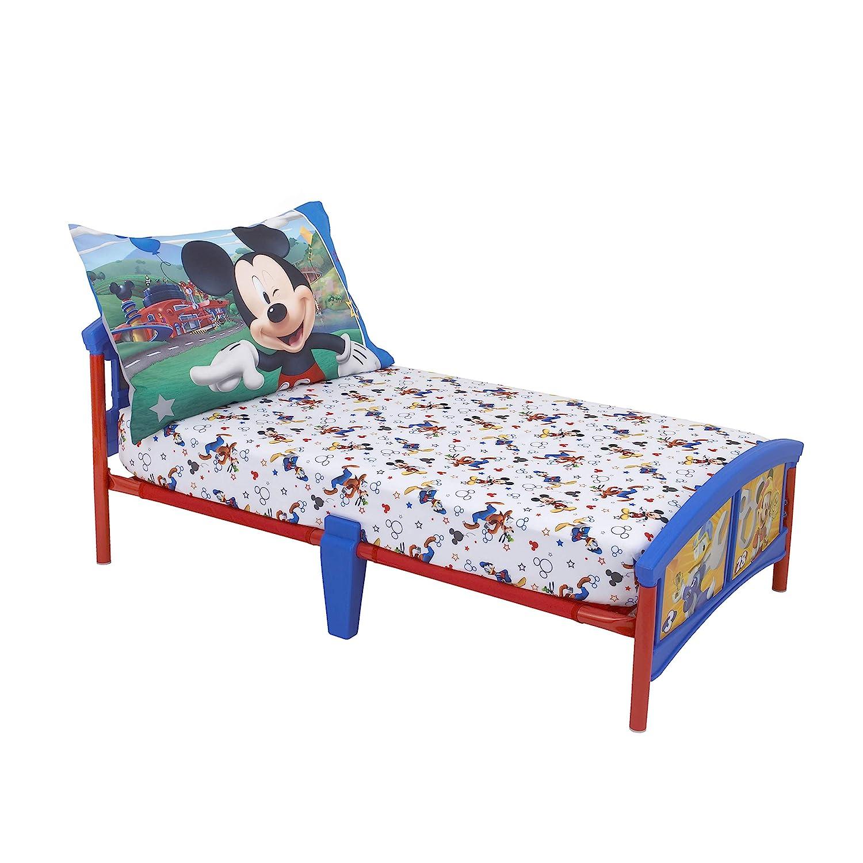 Disney Mickey Mouse Having Fun Super Soft 2 Piece Toddler Sheet Set, White/Grey/Blue/Red