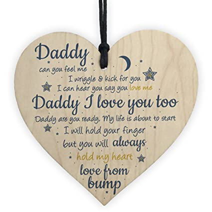 RED OCEAN Handmade Wooden Heart From Bump Gifts For Men Dad Daddy To Be Birthday Father Baby Son Daughter Amazoncouk Kitchen Home