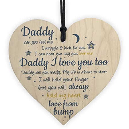 RED OCEAN Handmade Wooden Heart From Bump Gifts For Men Dad Daddy To Be Birthday Father