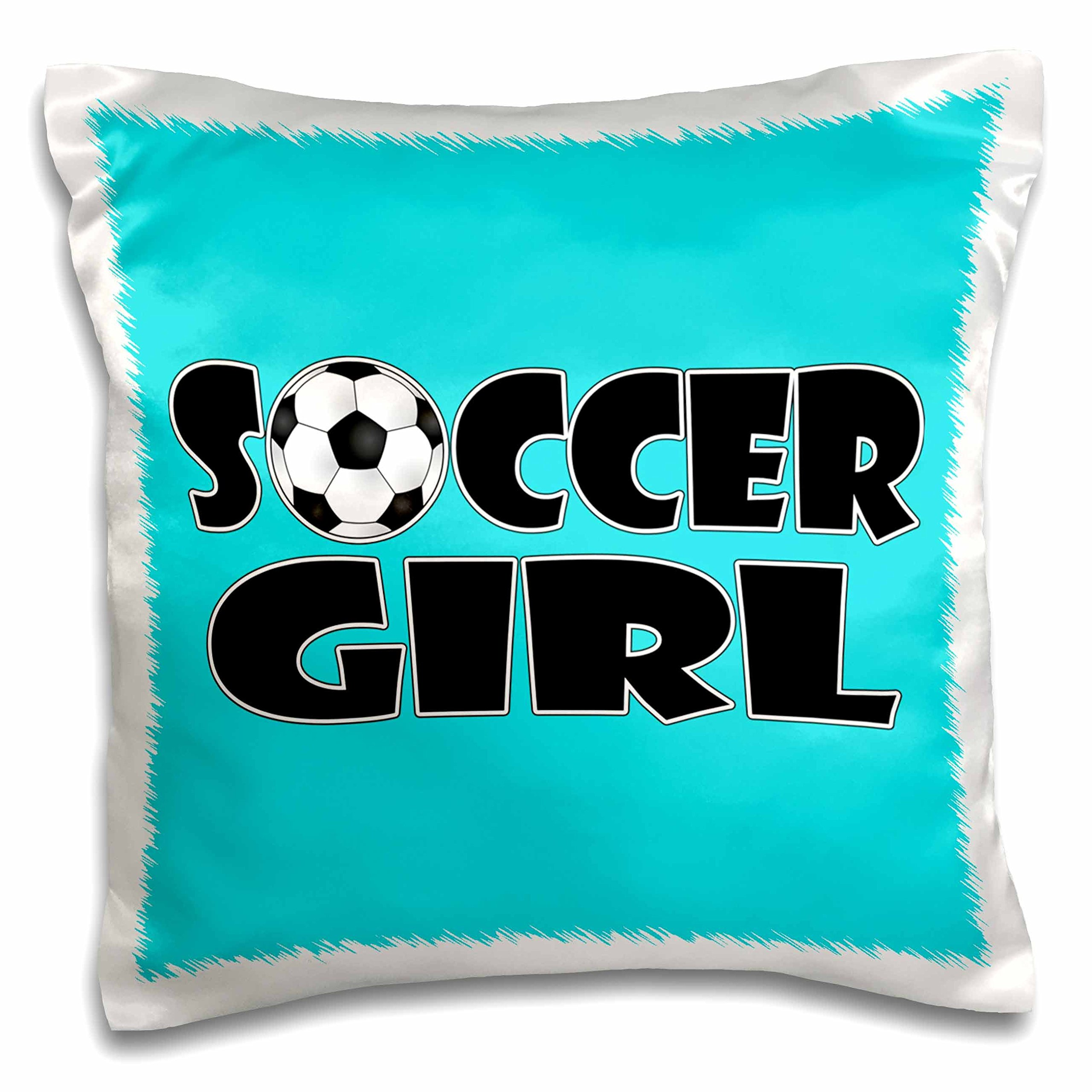 3dRose pc_181850_1 Soccer Girl black and Aqua Blue-Pillow Case, 16 by 16''