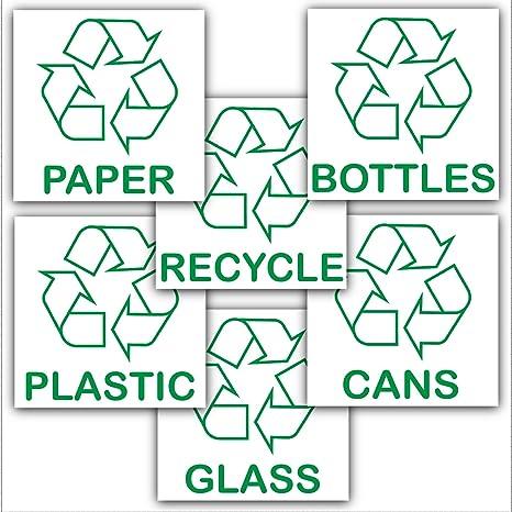 Pegatinas adhesivas de reciclaje. Paquete promocional con el logotipo de reciclaje para papel, vidrio