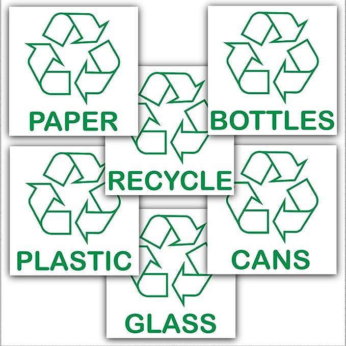 Paquete promocional con el logotipo de reciclaje para papel, vidrio, botellas, latas, plástico y diseños de reciclaje con etiquetas de medio ambiente: ...