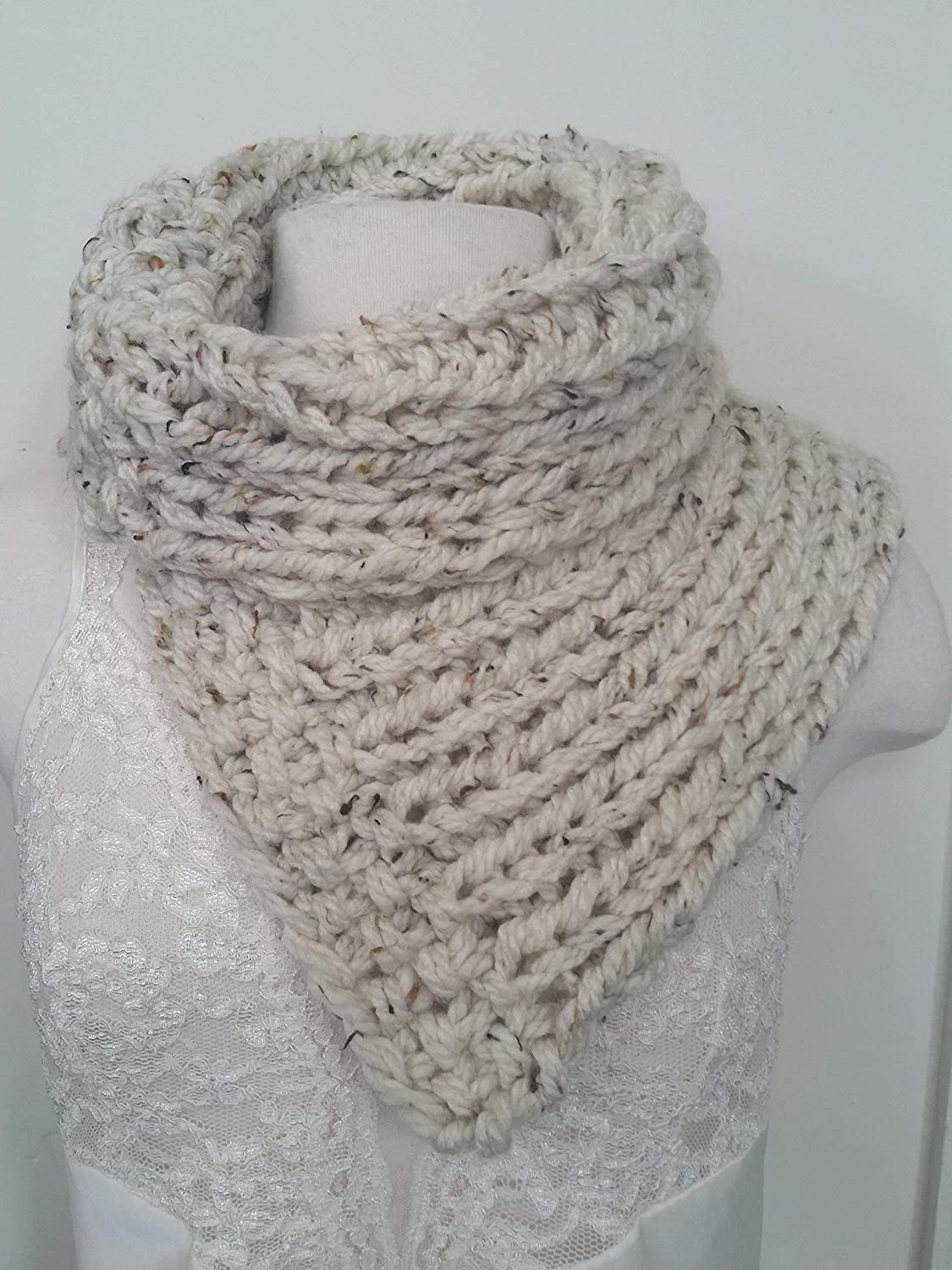 Split Scarf Knit Cream Tweed