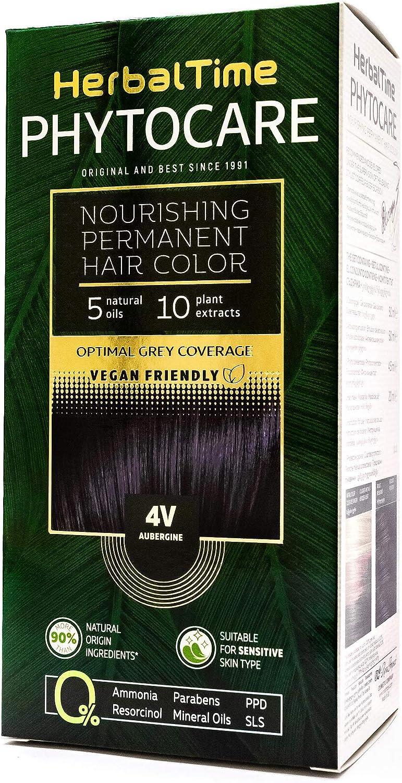 Phytocare Tinte permanente y nutritivo para cabello sin amoniaco, sin PPD, sin SLS, sin parabenos Color Berenjena 4V