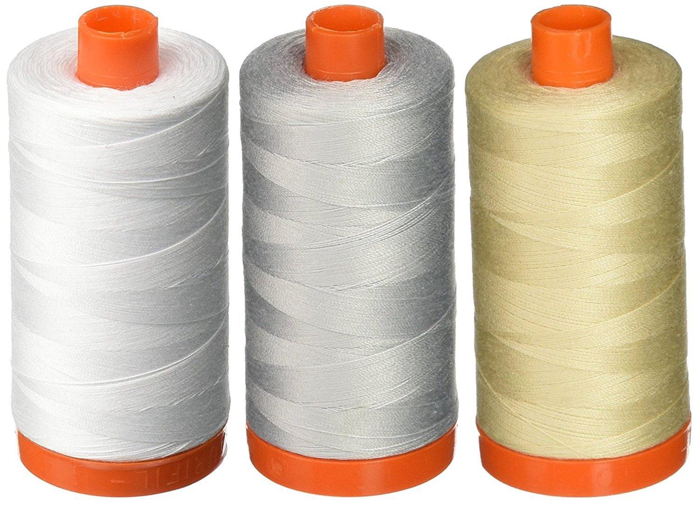 3-PACK - Aurifil 50WT - White + Dove + Light Beige, Solid - Mako Cotton Thread - 1422Yds EACH by Aurifil